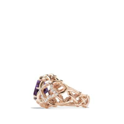 Venetian Quatrefoil Ring with Amethyst and Diamonds in 18K Rose Gold