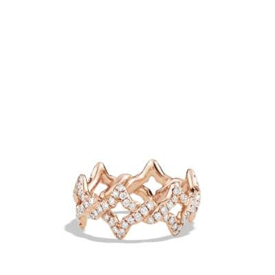 Venetian Quatrefoil Ring with Diamonds in 18K Rose Gold