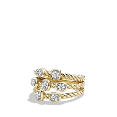 Confetti Ring with Diamonds in 18K Gold