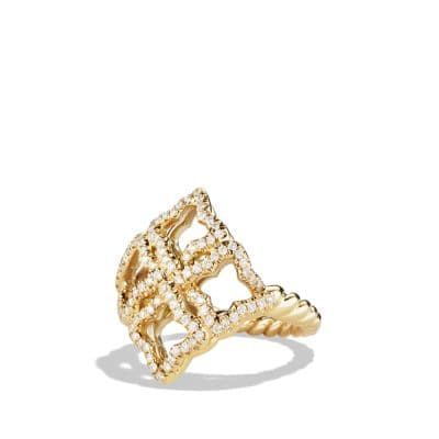 Venetian Quatrefoil Ring with Diamonds in Gold