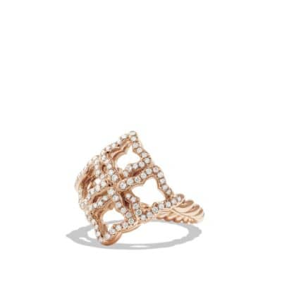 Venetian Quatrefoil Ring with Diamonds in Rose Gold