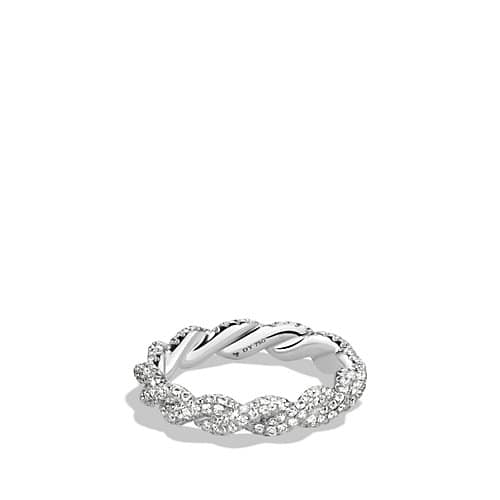 DY Wisteria All Pave Twist Ring with Diamonds in 18K White Gold, 4mm