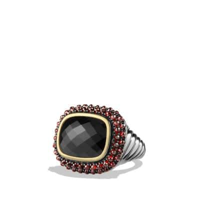 Osetra Ring with Black Onyx, Garnet and 18K Gold