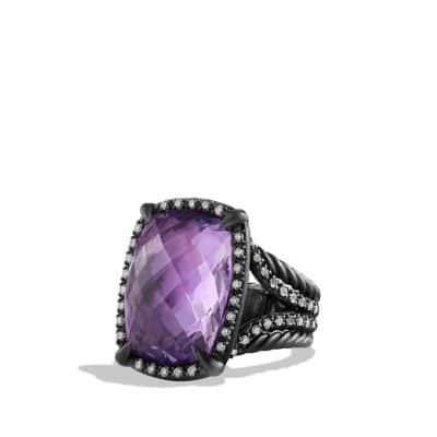 Ring with Amethyst and Gray Diamonds