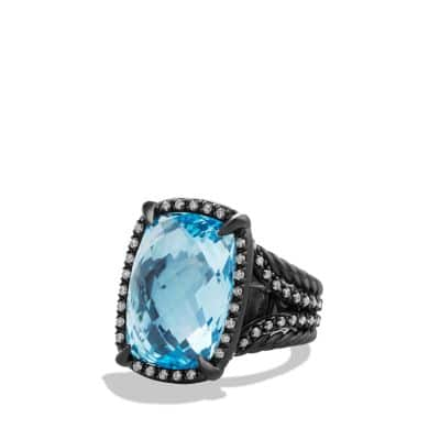 Ring with Blue Topaz and Gray Diamonds