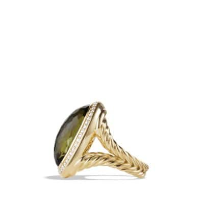 Ring with Green Orchid and Diamonds in 18K Gold