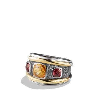 Renaissance Ring with Citrine, Rhodalite Garnet and 14K Gold
