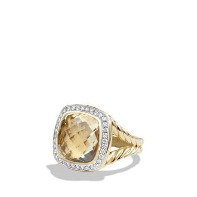 Albion® Ring with Champagne Citrine and Diamonds in 18K Gold, 14mm