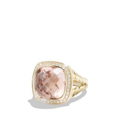 Albion Ring with Morganite and Diamonds in 18K Gold, 14mm
