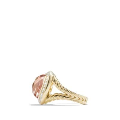 Ring with Morganite and Diamonds in 18K Gold