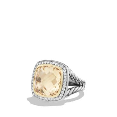 Albion® Ring with Champagne Citrine and Diamonds with 18K Gold, 14mm