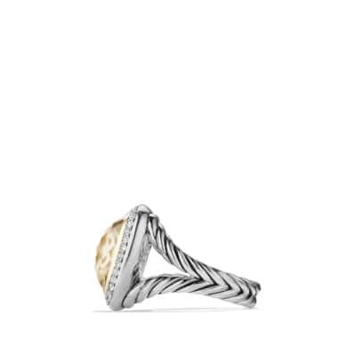 albion ring with champagne citrine and diamonds with 18k gold 14mm