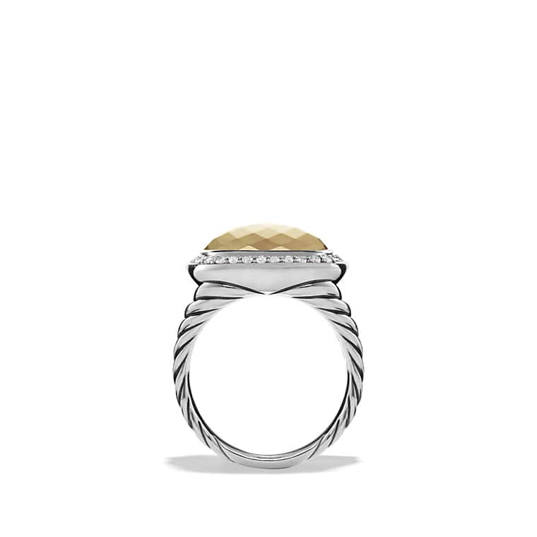 albion ring with 18k gold dome and diamonds 14mm