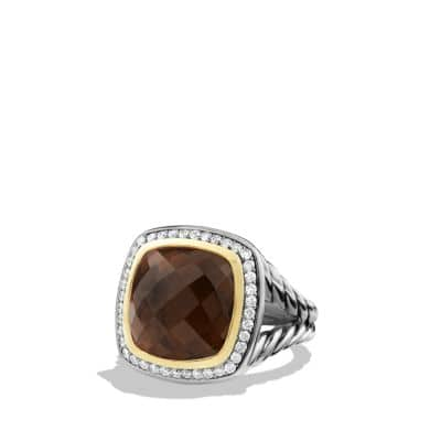 Albion Ring with Smoky Quartz and Diamonds with 18K Gold, 14mm