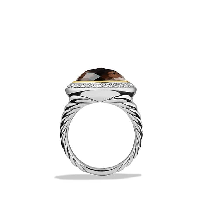 albion ring with smoky quartz and diamonds with 18k gold 14mm