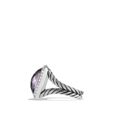 Albion Ring with Black Orchid and Diamonds, 14mm