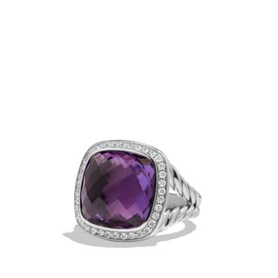Albion Ring with Amethyst and Diamonds, 14mm