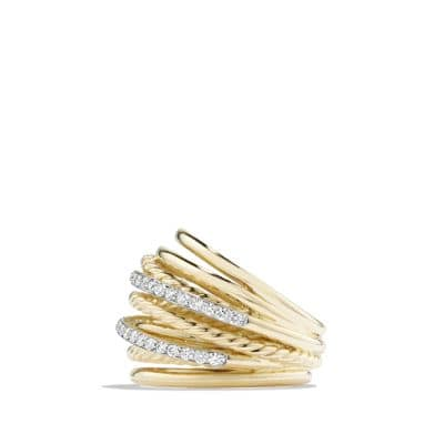 Crossover Dome Ring with Diamonds in 18K Gold