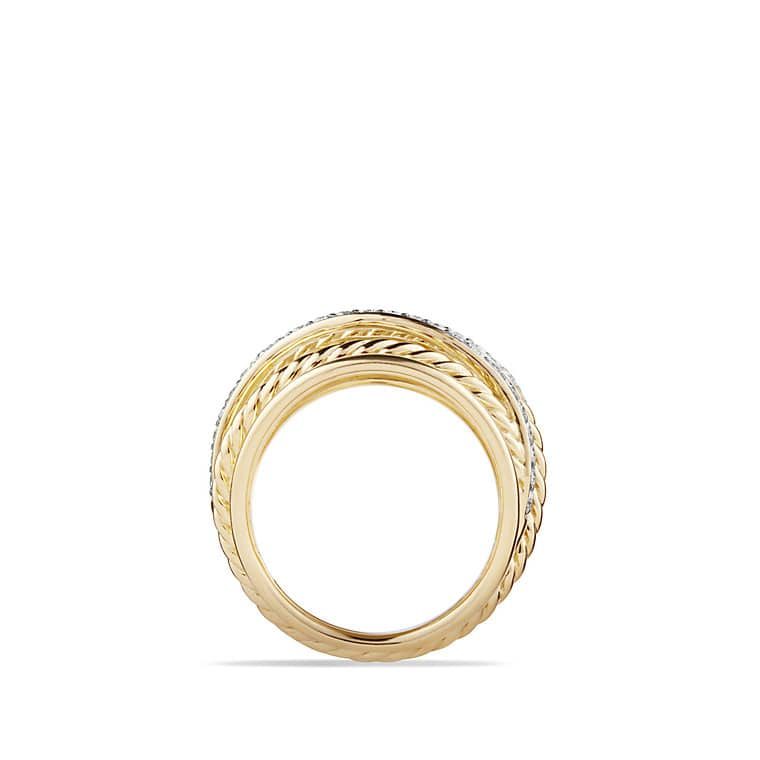 X Crossover Dome Ring With Diamonds In 18k Gold