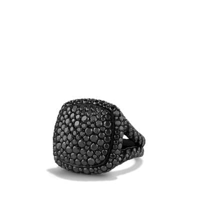 Ring with Black Diamonds in 18K White Gold