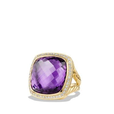 Albion Ring with Amethyst and Diamonds in 18K Gold, 20mm