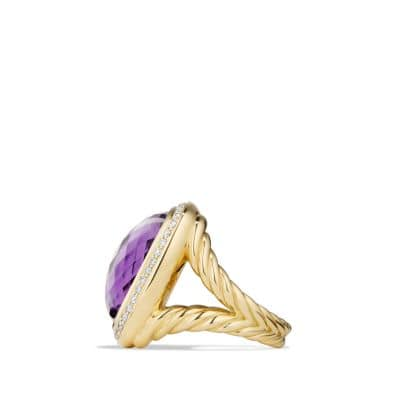 Albion® Ring with Amethyst and Diamonds in 18K Gold, 20mm