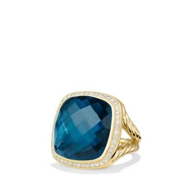 Albion Ring with Hampton Blue Topaz and Diamonds in 18K Gold, 20mm