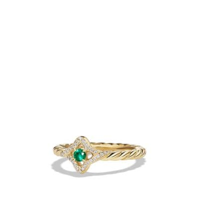 Venetian Quatrefoil Ring with Emerald and Diamonds in 18K Gold
