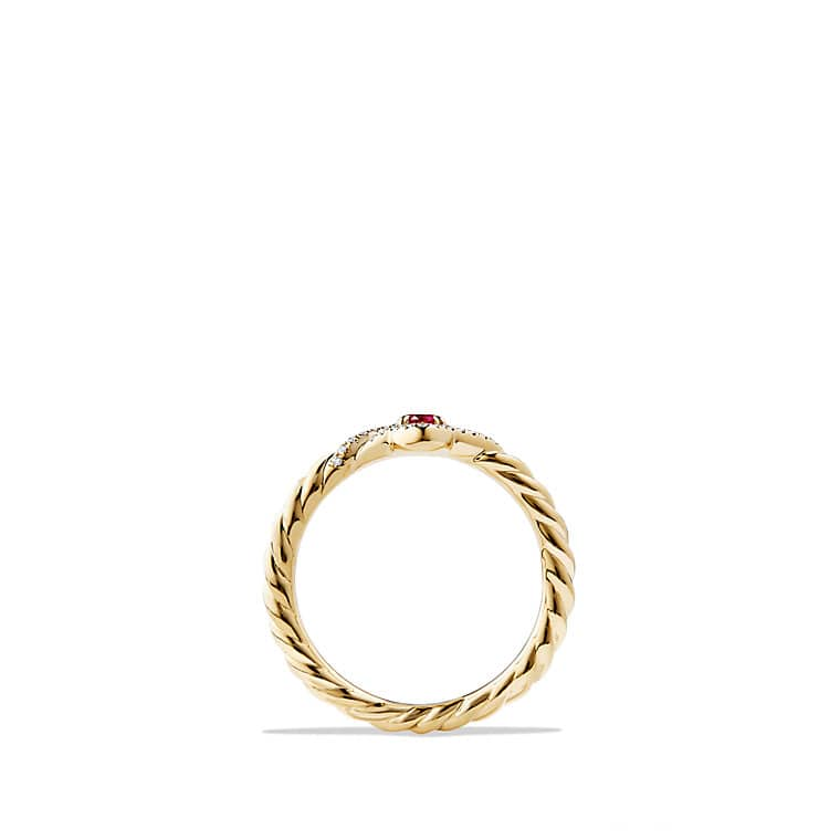 Venetian Quatrefoil® Ring with Ruby and Diamonds in 18K Gold