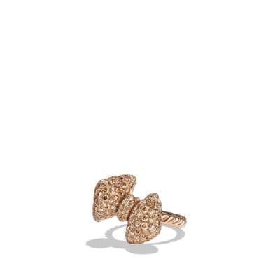 Mini Bow Ring with Diamonds in 18K Rose Gold