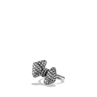 Mini Bow Ring with Gray Diamonds in 18K White Gold