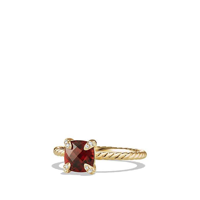 Chatelaine Ring with Garnet and Diamonds in 18K Gold, 7mm