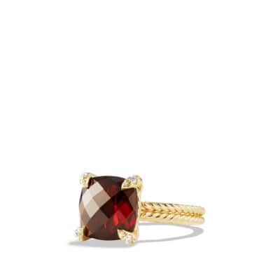 Châtelaine® Ring with Garnet and Diamonds in 18K Gold