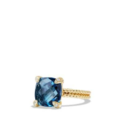 Ring with Hampton Blue Topaz and Diamonds in 18K Gold