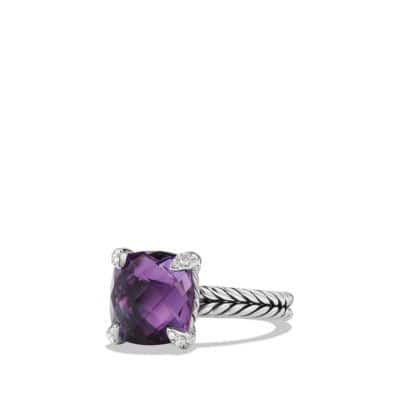 Châtelaine Ring with Amethyst and Diamonds, 11mm