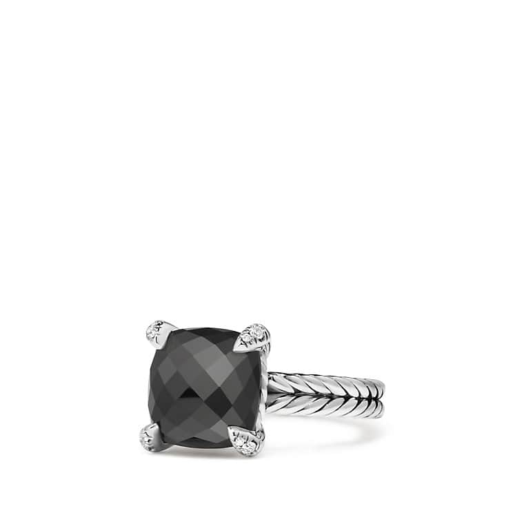 Claine Ring With Black Onyx And Diamonds