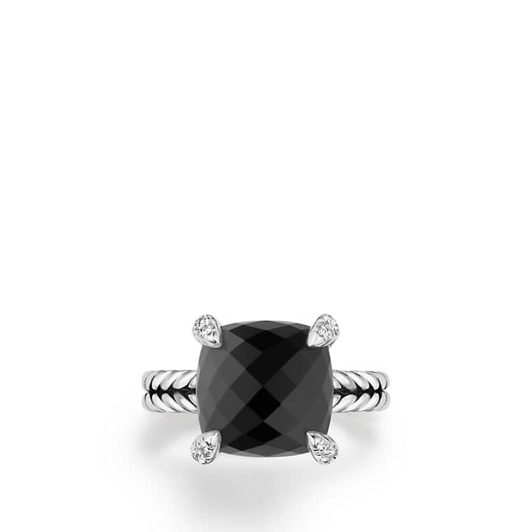 Chatelaine® Ring with Black Onyx and Diamonds, 11mm