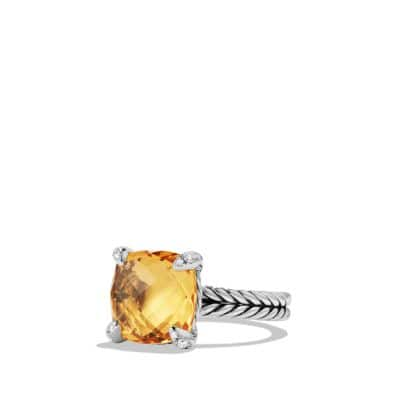 Châtelaine Ring with Citrine and Diamonds, 11mm