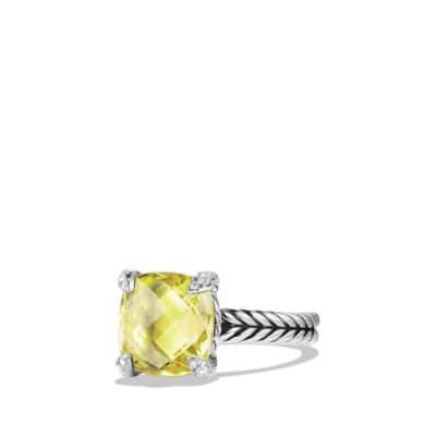 Ring with Lemon Citrine and Diamonds, 11mm