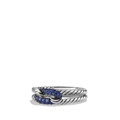 Petite Pave Loop Ring with Blue Sapphire
