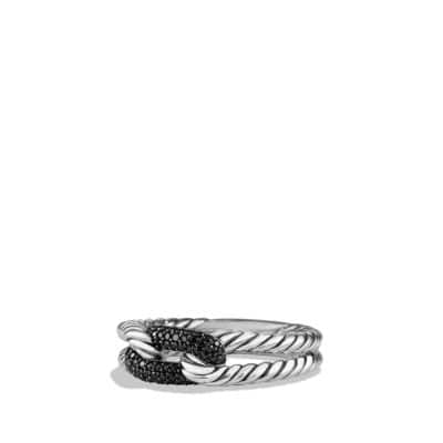 Petite Pave Loop Ring with Black Diamonds