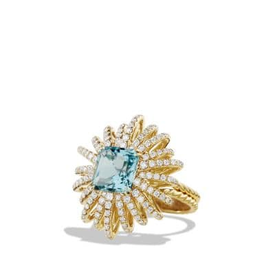 Starburst Ring with Diamonds and Aquamarine in 18K Gold, 25mm
