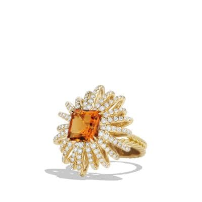 Starburst Ring with Diamonds and Madiera Citrine in 18K Gold, 25mm