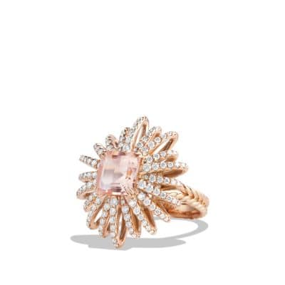 Starburst Ring with Diamonds and Morganite in 18K Rose Gold, 25mm