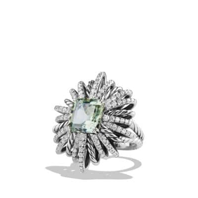 Starburst Ring with Prasiolite and Diamonds