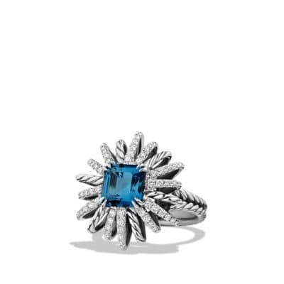 Starburst Ring with Diamonds and Hampton Blue Topaz in Silver, 23mm