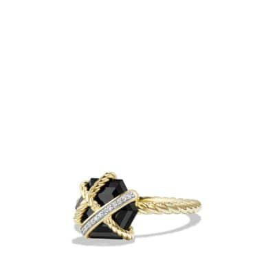 Cable Wrap Ring with Diamonds and Black Onyx in 18K Gold, 10mm