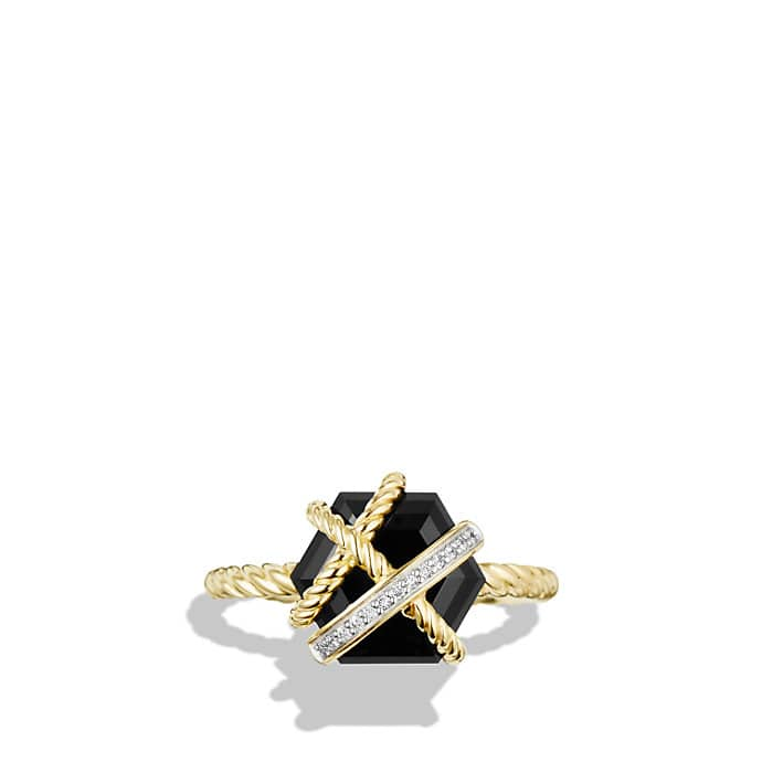 Cable Wrap Ring With Diamonds In 18k Gold 10mm