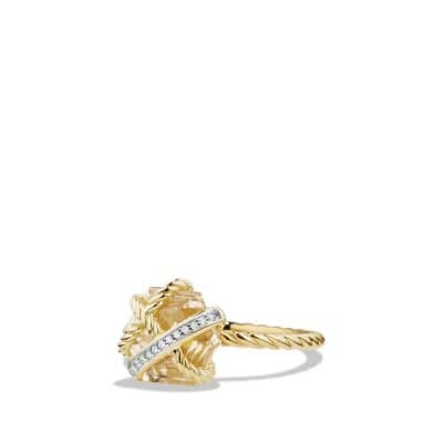 Cable Wrap Ring with  Diamonds and Champagne Citrine in 18K Gold, 10mm