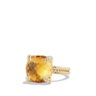 Châtelaine Ring with Citrine and Diamonds in 18K Gold